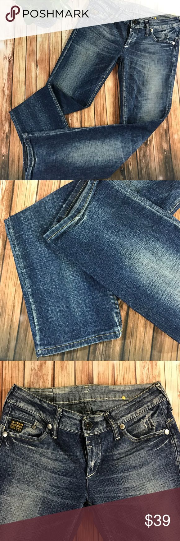 G-star Raw Jeans Gently used. Nice wash, slim straight leg, low rise, Italian size 30 will be perfect for US 6 there is some staining on back pockets ( reflect the price) G-Star Jeans Straight Leg