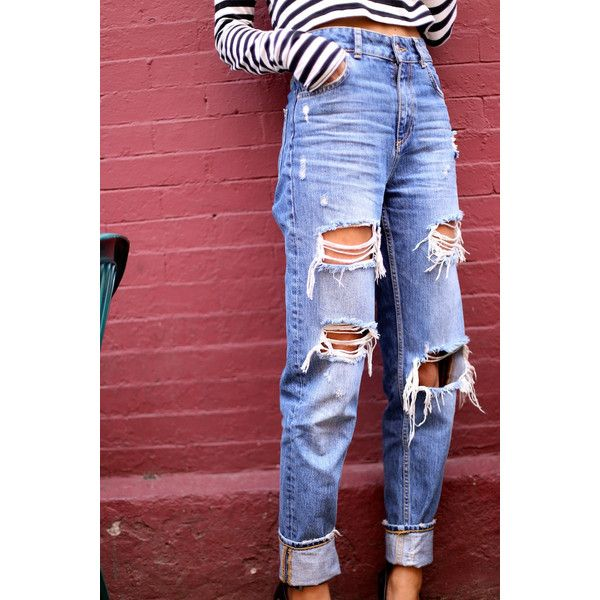 1000  ideas about Ripped Boyfriend Jeans on Pinterest | Boyfriend ...