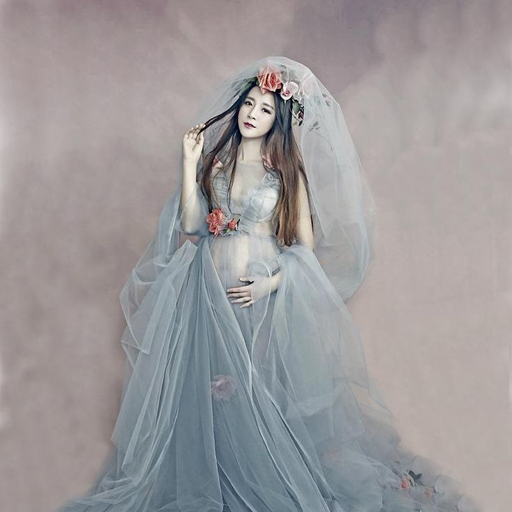 Fashion Maternity Dresses Photography Props Voile Maternity Long Dress Pregnant Photography Dresses With Flowers – Pregnant