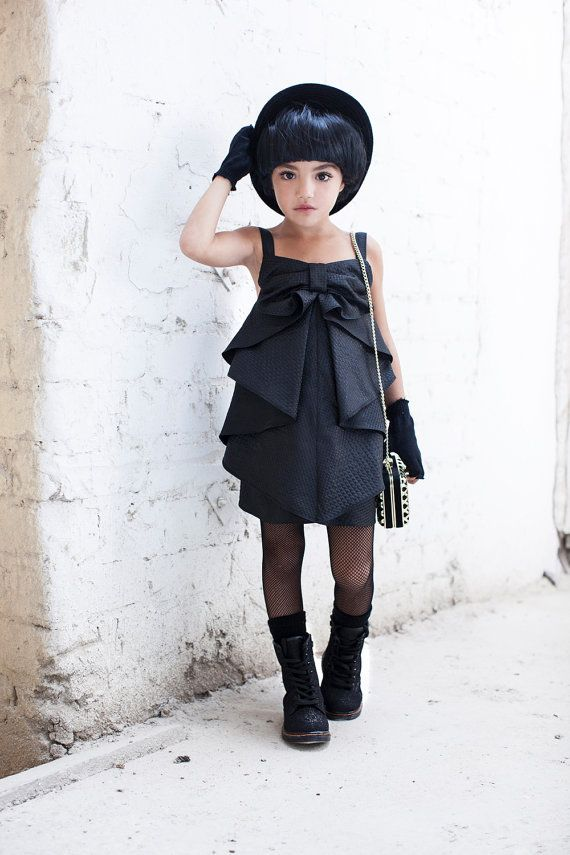 Girl Party Dress Black Bow Dress Special Occasion by CatteliyaTT