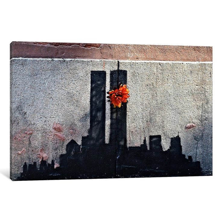 iCanvas Twin Towers Tribute by Banksy Canvas Print