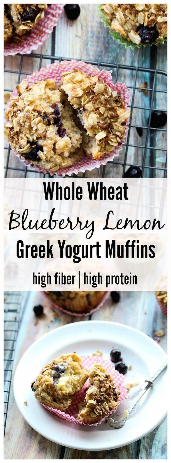 Whole Wheat Blueberry Lemon Greek Yogurt Muffins (high protein, high fiber) | dishingouthealth.com