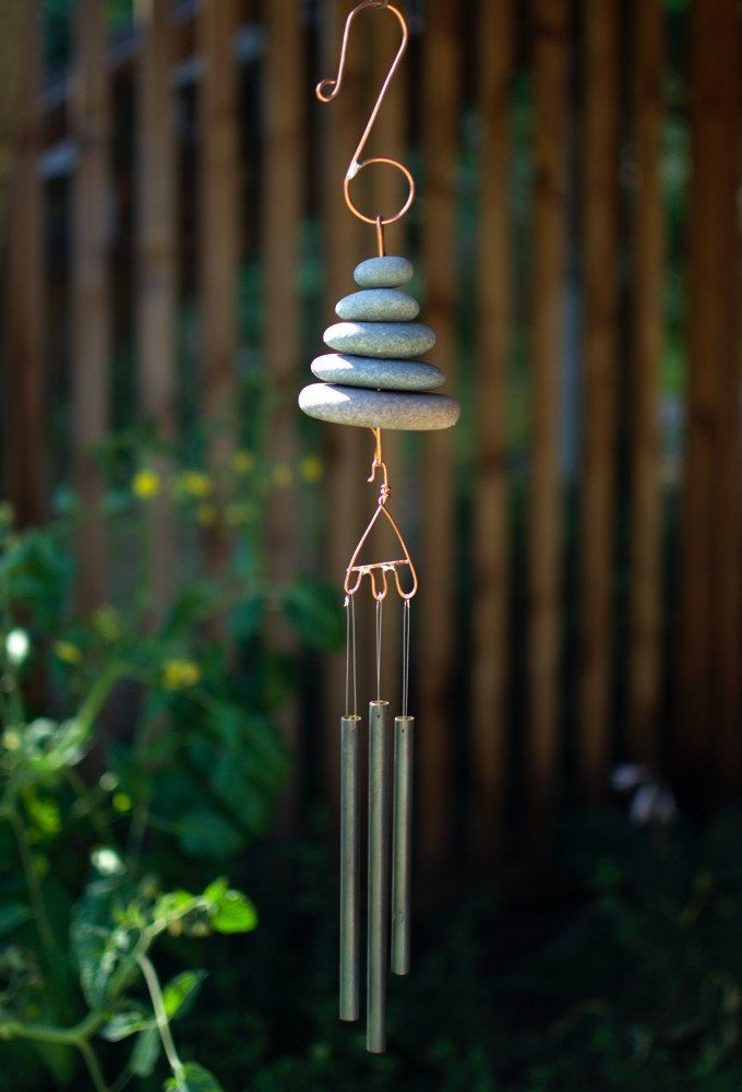 Natural Pacific Beach Stone Wind Chime - Coast Chimes - 1