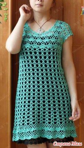 Ажурное платье бирюзового цвета. - Все в ажуре... (вязание крючком) - Страна Мам