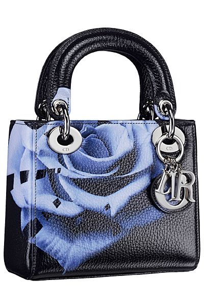 Dior Black/Blue Floral Print Lady Dior Bag                              …