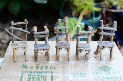 Create your own fairy gardening twig chairs