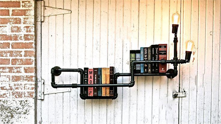 Bookshelf Industrial Pipe with Lighting - Stella Bleu Designs - Etsy