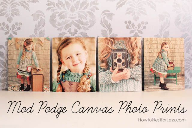 Print out your photos on normal letter-sized paper and mod podge onto thin canvases for a custom, professional look.