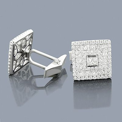 18K Round & Princess Diamond Designer Cufflinks 4.59ct