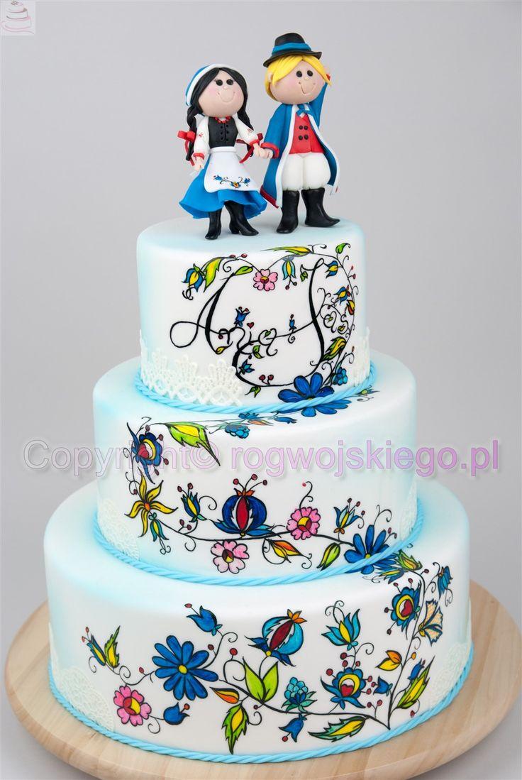 Tort weselny z ręcznie malowanym wzorem kaszubskim.  tort weselny, wedding cake, wedding cakes gdańsk, torty weselne gdańsk, tort weselny gdańsk, torty ślubne, tort ślubny gdańsk