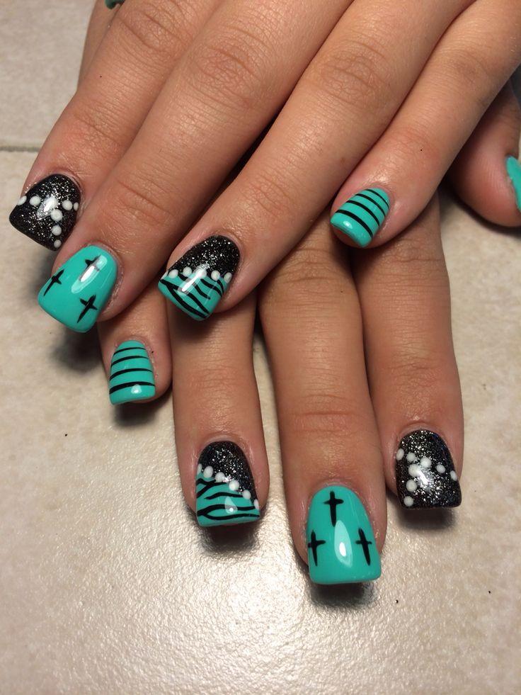 Acrylic with gel polish zebra crosses and polka dots