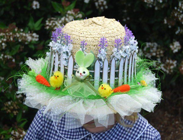 Rustic Look Easter Hat. How to add the rustic flavor to Easter hat? Apply white fence from craft foam and purple lavender above this around the hat. Tie the yellow ribbon into a bow at the back. You can add some other decorations to make this hat more colorful.