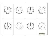 Telling Time Clock BINGO - Hour