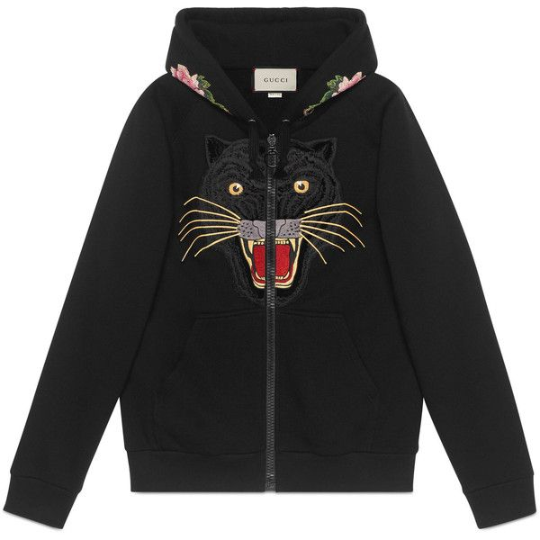 Embroidered Hooded Sweatshirt With Gucci Logo ($1,980) ❤ liked on Polyvore featuring tops, hoodies, black, sweatshirt hoodies, animal hoodies, animal print hoodie, embroidered hoodies and print hoodie