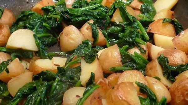 Πατάτες με σπανάκι