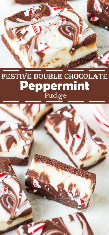Festive Double Chocolate Peppermint Fudge