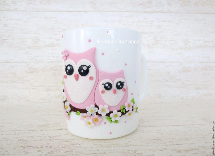 Купить Кружка Совушки с декором из полимерной глины - сова, сова на кружке, кружка, кружка с совой