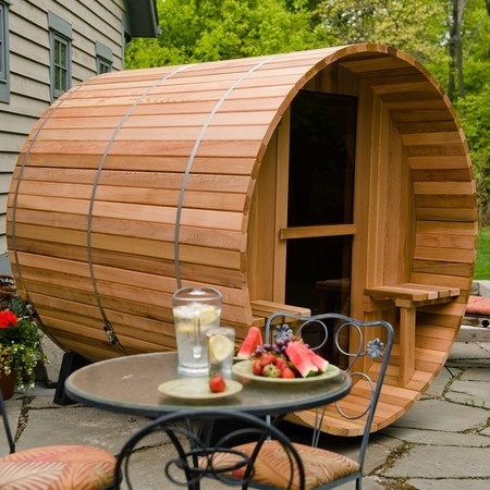 Barrel Sauna - I want a sauna into bathroom but if I could have this one I'd be ok with it outside!