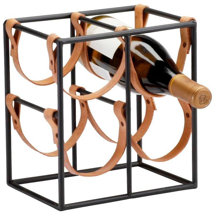 rustic wine rack | Small Brighton Rustic Farmhouse Iron Leather Wine Rack Holder