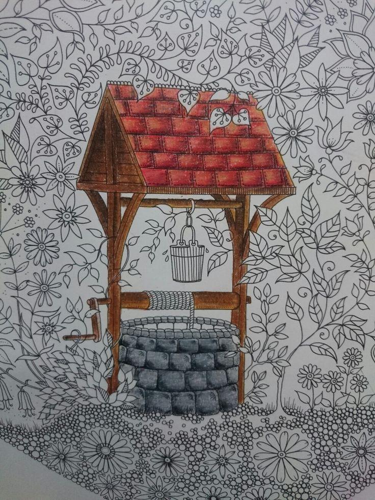 Progress... Johanna Basford, Secret Garden, Esrarengiz bahçe, boyama kitabı, kuyu, well garden, flowers, coloring, prismacolor