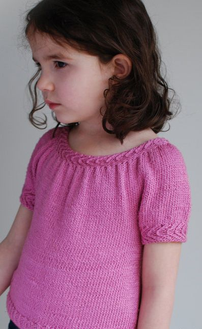 Knitting pattern for Llani Top - #ad Girl's tee top short sleeved sweater with cable trim. tba child top