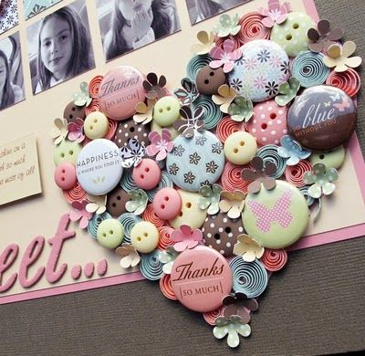 Cool heart collage on this layout by Melinda Spinks