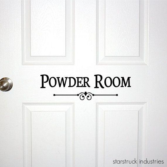Powder Room Door or Wall Decal - Decorative Powder Room Sign Bathroom Bath Room Guest Shower Decor Wall Art Restroom Decoration Door Decal