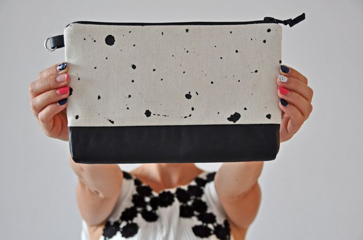 Black and White Clutch Bag by Vioviolla on Etsy