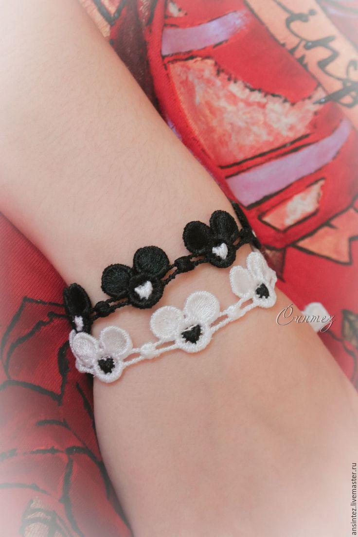 Купить вышитые браслеты Черно-белый Микки с сердцем, украшения, бижутерия - чёрно-белый