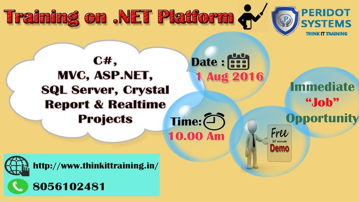 @ThinkITTrainingChennai provides .Net Training on 1 August 2016. Special Offer to First Comers. For more details Click Here .. http://www.thinkittraining.in/