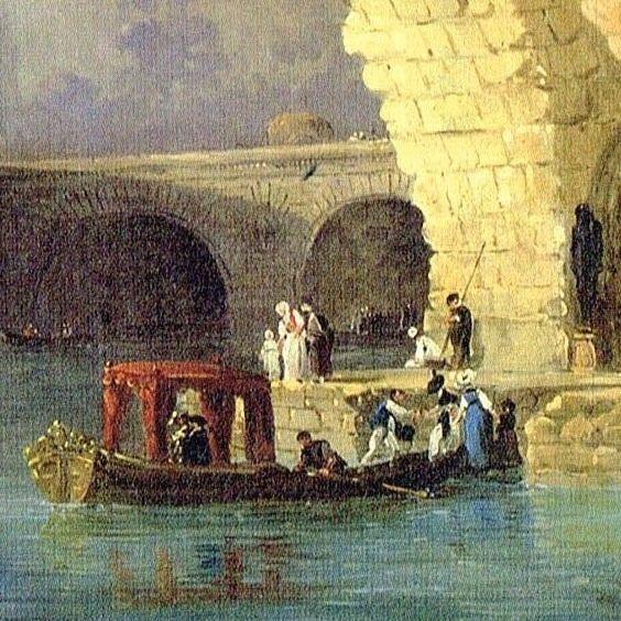 Une autre version du bord de l'eau par Hubert Robert. #frenchpainter #hubertrobert #xviiicentury #xviiiemesiecle  #gondola #gondole #auborddeleau