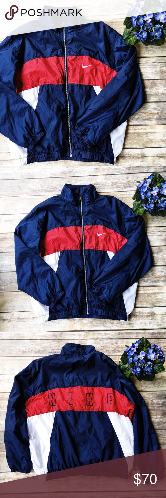 Nike Vintage Windbreaker Jacket  ★ Excellent condition. One minor pull in the stitching on the back, can very easily be fixed.  ★ This awesome vintage Nike windbreaker is an absolute must have! Perfect for fall and winter exercise activities.  Featured American colors!  ★ Polyester, Nylon. ★ NO TRADES!  ★ NO MODELING!  ★ YES REASONABLE OFFERS! ✅ ★ Measurements available by request and as soon as possible!  Nike Jackets & Coats