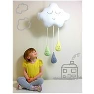CLOUD & RAINDROPS MOBILE White Rain Cloud with Raindrops - Baby Shower