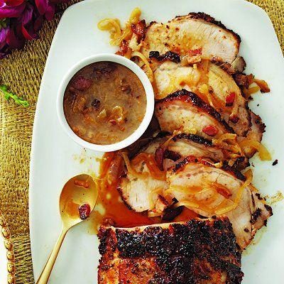 Roast pork loin with bacon-cider gravy recipe - Chatelaine.com
