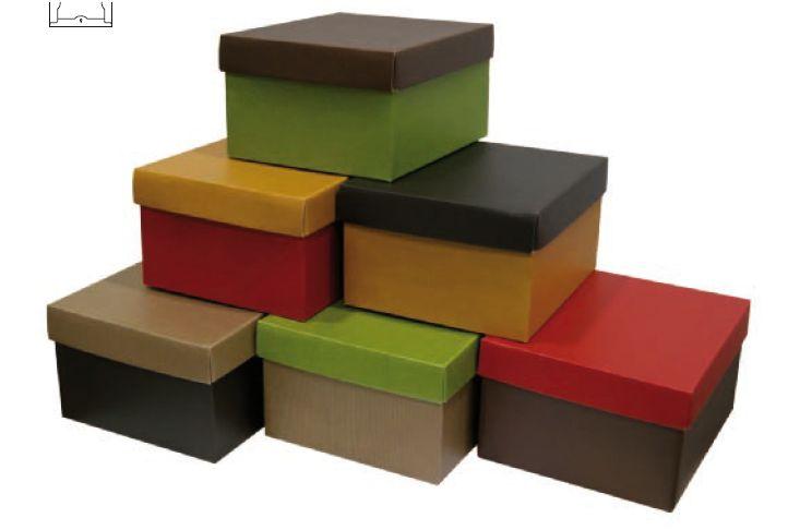 Caixas GOURMET HAUTE em microcanelado Medidas : 235x200123, 295x250x154, 395x335x205 mm., Cores : Amarelo,Vermelho, Verde, Castanho, Natural e Preto