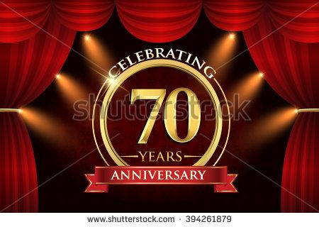 70 years anniversary celebration with red ribbon. Curtain background and light shine. golden anniversary logo. - stock vector