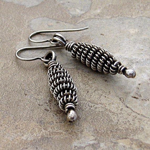 marynewton, etsy. Wire coil beads, earrings to match the bracelet.