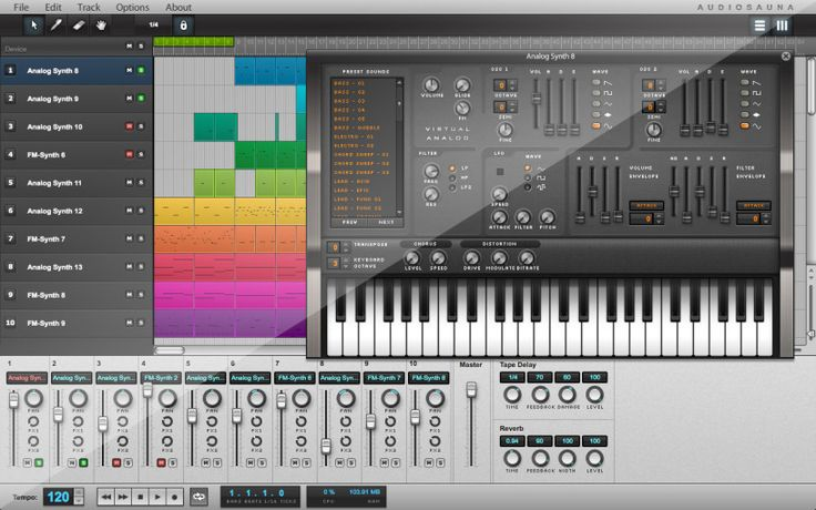 Suomalainen Audiosauna tarjoaa nettipohjaisen musiikkistudion, jolla musiikin teko suoraan tietokoneella on vaivatonta. Audiosaunan käyttöliittymä on kuitenkin selvästi kehittyneempi ja tarjoaa ene…