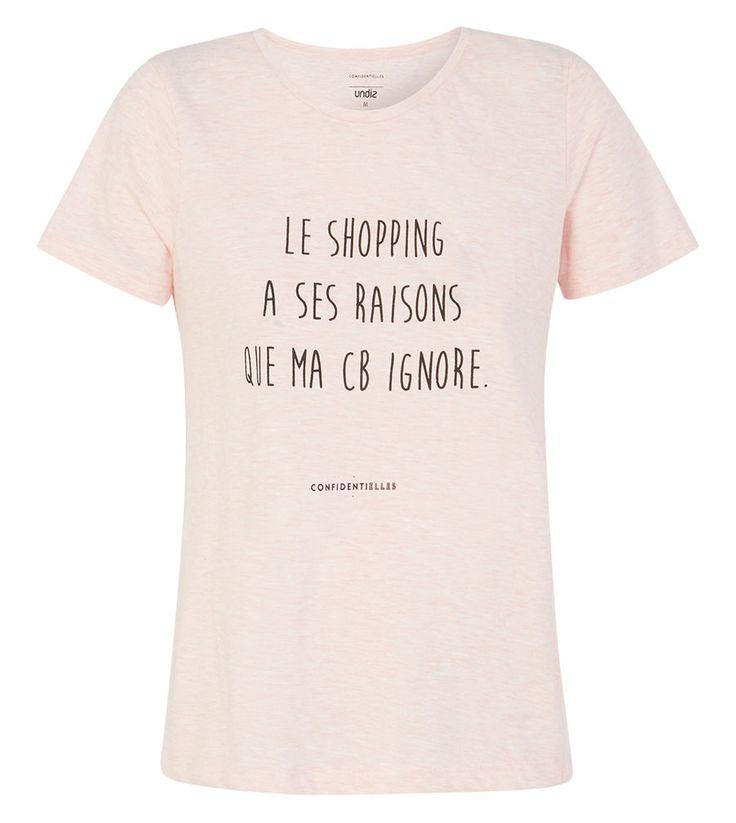 """Au top dans mon nouveau top ! Top rose pâle chiné à manches courtes avec message """"Le shopping a ses raisons que ma cb ignore"""""""