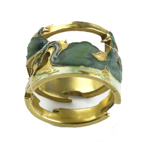 René Lalique Swan Ring. Gold hoop ring, enamelled with a frieze of four swans in water, each posed differently. René Lalique, Paris, 1898-1899: Art Nouveau, Gold Hoops, Artnouveau, Rings, René Lalique, Rene Lalique