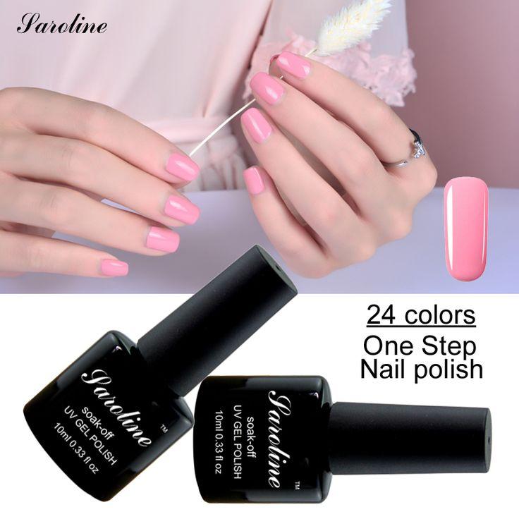 Saroline 10ml One Step Uv Gel Nails Polish Colors Lucky Vernis Nail Gel Lacquers Esmaltes Permanentes  3in1 Soak Off cheap Gel