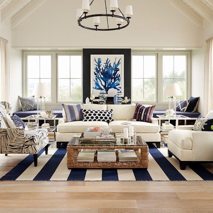 Nautical Theme Living Room In 2020 Beach Living Room Coastal