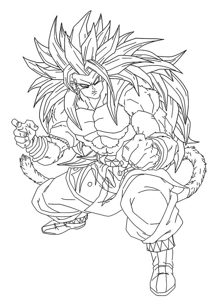 Goku Dragon Ball Z Anime Coloring Pages For Kids Printable Free