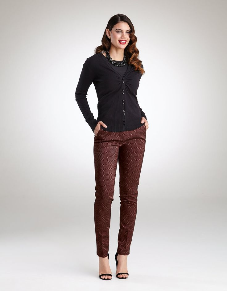 Jacquard Trouser in Black/Bronze by Pepperberry