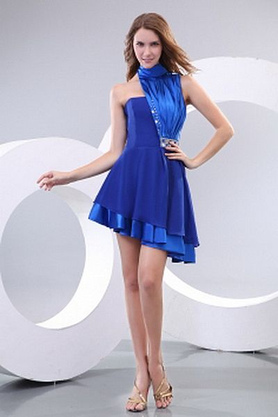 A-Line Chiffon Luxury Homecoming Dress wr2587 - http://www.weddingrobe.co.uk/a-line-chiffon-luxury-homecoming-dress-wr2587.html - NECKLINE: High Neck. FABRIC: Chiffon. SLEEVE: Sleeveless. COLOR: Blue. SILHOUETTE: A-Line. - 143.59