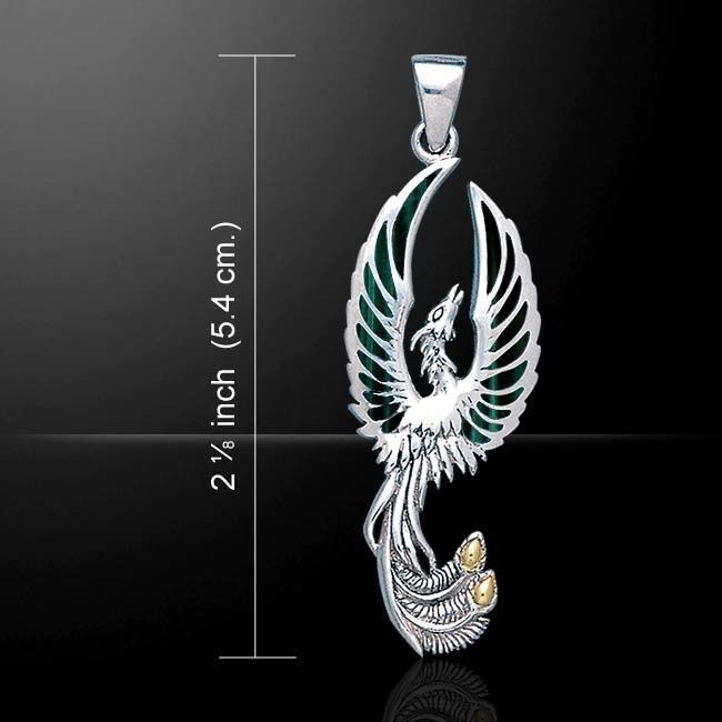 Flying Phoenix Pendant .925 Solid Sterling Silver - Fird Bird Jewelry - Phoenix Pendant with gemstones of your choice