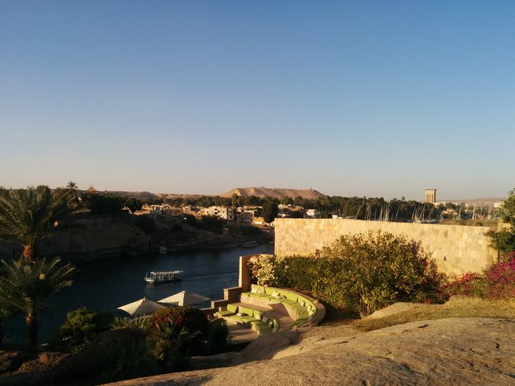 Reading book at sunset here is priceless with this nile view at Cataract hotel in Aswan, Egypt