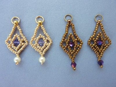 DIY Jewelry: FREE beading pattern for diamond shaped earrings made from 11/0 seed beads and 4mm crystals or pearls. (1 of 2)