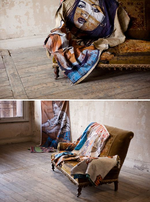 Unconventional quilts done by David Bromley. Cheapest way to get a painting that keeps you warm. #thedesignfiles, #DavidBromley