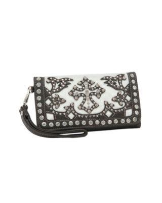 Blazin Roxx Ladies Cream Faux Cowhide with Brown Cross Overlay & Crystals Flap Wallet